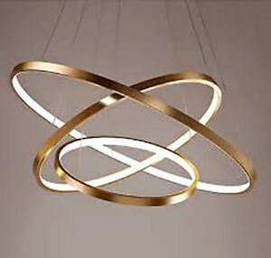 Circular Ring Pendant Light Aluminum LED Chandelier Ceiling Hanging Lamp