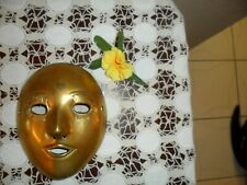 LARGE VINTAGE SOLID BRASS WALL HANGING MASK