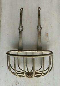 Antique Wall Mount Sponge Holder Nickel Brass Vtg  Bathtub Soap Basket 25-21J