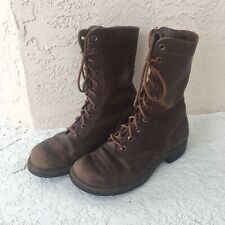Korean War Rare Brown Leather Combat Boots - Size 7 1/2
