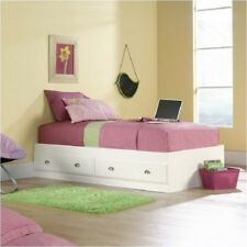 Twin Size Mates Bed Frame Wood Bedroom Furniture With Storage Transitional White