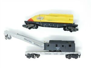 LOT of 2 S Scale American Flyer Operating Crane & Flat Car w/ Rocket Ship Load