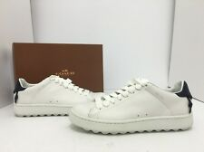 COACH Low Top White Navy Leather Women's Flats Lace Up Oxford Sneakers Size 8.5