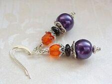 Halloween Earrings Purple Black Orange Czech Glass Beads Modern Witches Brew