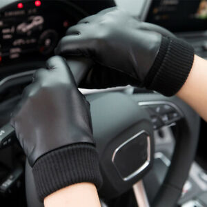 Touchscreen Full Finger Winter Warm Women Men Gloves PU Leather Fleece Running