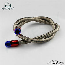 """48"""" 8AN Stainless Steel Braided Oil/Fuel Line w/ Fitting Hose End Adapter"""