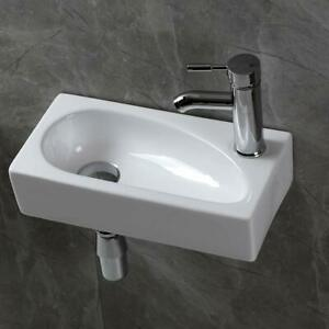 Modern Small Ceramic Wash Basin Compact Sink Wall Hung Mini Toilet Bathroom UK