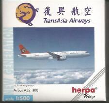 Herpa Wings: TransAsia  A 321-100   1:500 scale.Art-Nr. 508742