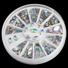 2 Sizes Rainbow Boat Nail Art Tips Crystal Glitter Rhinestone Decor Wheel New