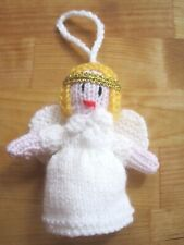 HAND KNITTED WHITE ANGEL / FAIRY TREE  DECORATION. 4 INCHES TALL.