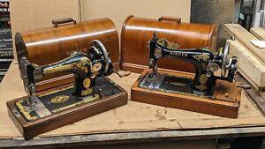 Singer 128k # F9742181 Clyde Scotland June 1920 Rococo decal HandCrank wood case