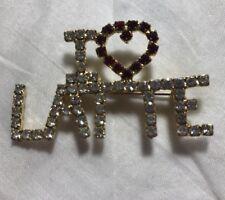Rhinestone I love Latte Gold Tone Pin Brooch Jewelry Mc-8