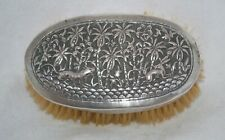 Antique Asian Silver Repousse Hair Brush Hound Dog & Hare Design Pure Bristle