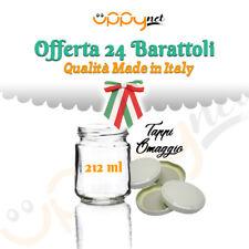OFFERTA 24 Barattoli vasi in vetro per marmellate sottolio conserva 212 ml tappi