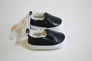 Gymboree Baby Boy Winter Shoes Size 1 Gray Black Sherpa Lined