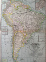 ORIGINAL 1897 South America Century Atlas No 69 11.5 x16 Panama Trinidad
