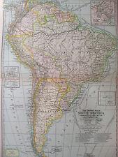ORIGINAL 1897 South America Century Atlas No 69 11.5 x16 Panama Trinidad