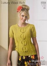 """Stylecraft Knitting Pattern 8554 Cable Sweater Top Wool Rich DK Ladies 32-42"""""""
