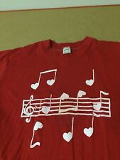 Music Notes Heart Love valentine shirt sportswera 80s USA 50 50  vtg