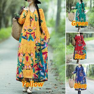 ZANZEA Women Cotton Maxi Sundress Full Length Kaftan Party Beach Floral Dress