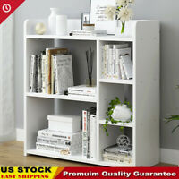 Adjustable 4/3Shelf Wood Bookcase Storage Shelving Book Wide Bookshelf Furniture