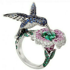 Hot New 6.5 ct Green&Blue&Pink Sapphire Hummingbird Silver Wedding Ring Size 6
