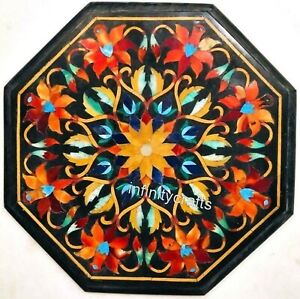 15 Inch Black Marble Coffee Table Top Marquetry Art Patio Table for Garden Decor