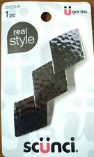 Scunci by Conair Hammered Metal Silver Colored Hair Clip/ Barrette- New!