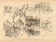 Bicentennial Of Albany, NY. The Old & The New, Vintage 1886 Antique Art Print