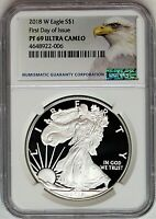 2018 W $1 Proof Silver Eagle NGC PF69 Ultra Cameo First Day of Issue