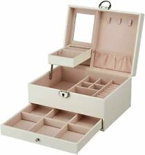 2-Layers Jewelry Box Storage Lock Organizer Necklace Earring Mirror Case Display