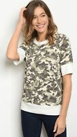 NWT Womens Small Camouflage Camo Raglan Short Sleeve Top Blouse Shirt BOUTIQUE