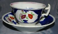 Gaudy Welsh Cup & Saucer Flow Blue Pink Vase Flowers Hand Painted