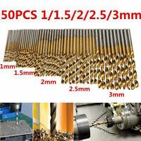New Titanium Coating High Speed Steel Drill Bit Set Tool 1/1.5/2/2.5/3mm 50pcs