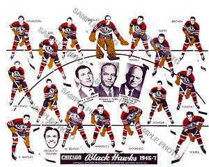 1946-47 CHICAGO BLACKHAWKS 8X10 TEAM PHOTO HOFs BENTLEY MOSIENKO MARIUCCI