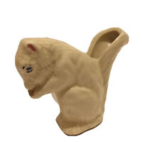 Vintage Shawnee Pottery Miniature Squirrel Eating Nuts Flower Pot Planter Ivory