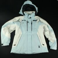Spyder Womens M Ski Snowboard Jacket Winter Snow Baby Blue White Coat
