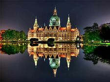LANSCAPE CULTURAL HANNOVER RATHAUS REFLECT LAKE POSTER ART PRINT PICTURE BB897A