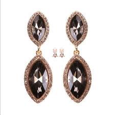 Black Clip on Earring Bridal Wedding Prom Party Crystal Rhinestone Chandelier