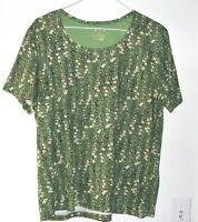 Women's green floral Short Sleeve blouse Shirt by White Stag Size XL