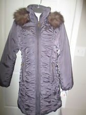 Nine West Faux Fur Hooded Ruched Down Puffer Coat M Graphite 100% Authentic NWT