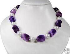 De Diseño Collar de Amatista con Cadena de Concha de Perlas
