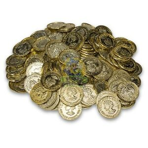 144 Plastic Novelty Fake Gold Coins for Play, Birthday Parties and Prizes