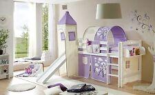 Lit mezzanine avec toboggan et tour TOBY R Hêtre massif teinté blanc tissus Chev