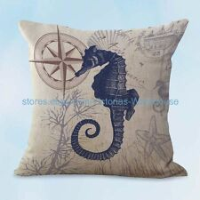 US SELLER, discount throw pillow covers seahorse marine fish ocean cushion cover