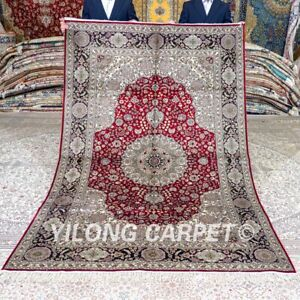 Yilong 5'x8' Red Handmade Silk Area Rug Living Room Hand Knotted Carpet 417C