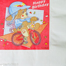 BICYCLE PUPPY SMALL NAPKINS (16) ~ Vintage Birthday Party Supplies Beverage Dogs