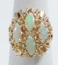 Lively 14K Yellow Filigree GOLD & FIRE OPAL Cocktail RING Unique! Free Shipping!