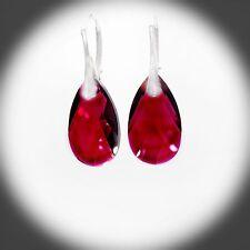 Damen Ohrhänger 925 Sterling Silber Swarovski Kristalle 22 mm KB Rubin Rot