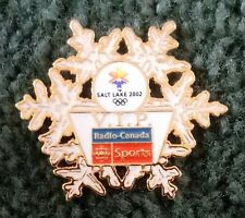 2002 Radio-Canada Sports Salt Lake Olympic Pin VIP Press Media White Gold LE 300